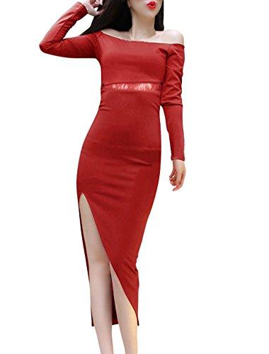 Ourlet plongeant Pull pour femme Motif Robe avec épaule dénudée Rouge - Bordeaux