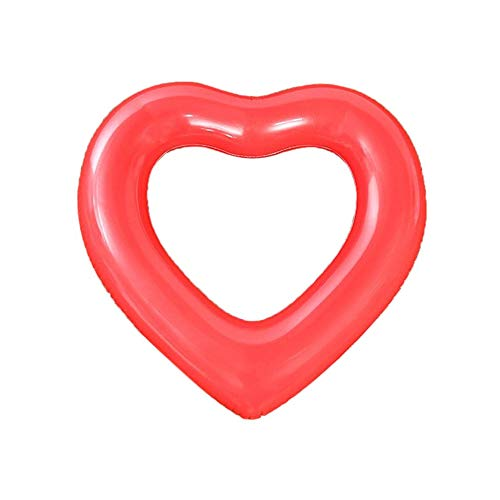 Pool Float Raft Liebesmuster Aufblasbare PVC Schwimmring Pool Float Sitz Rot 90CM (Roter Pool Tube)