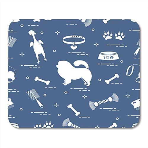 Luancrop Mauspads Muster der Silhouette Chow Dog Bowl Knochenbürste Kamm Spielzeug und andere Artikel für Pet Design Pflege Entzückende Mausunterlage für Notebooks, Desktop-Computer Matten Bürobedarf -