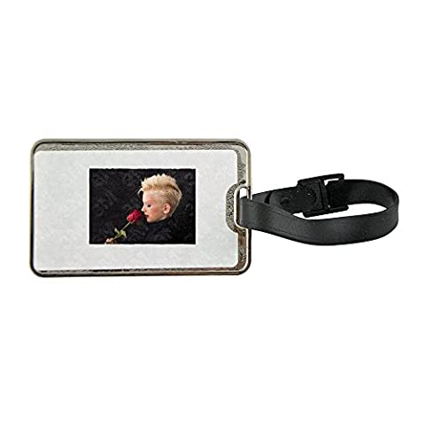 Metal luggage tag with Profile, Girl, Rose, Young Girl, Blonde