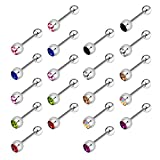 Incaton 20stk 14 Gauge 12mm Chirurgenstahl Zungenpiercing Nipplerings Kristallkugel Glitzer Barbell Piercing Set