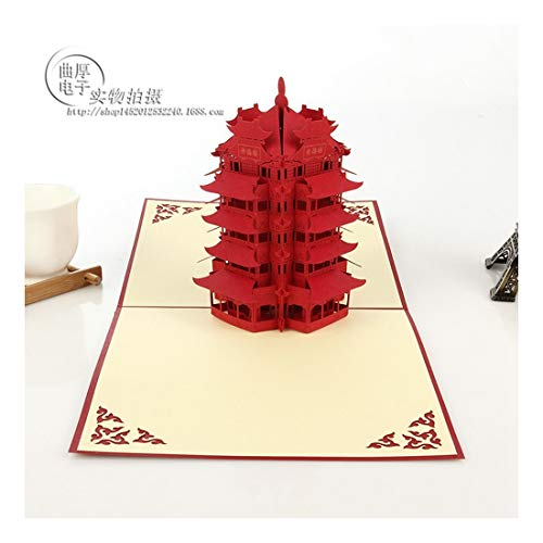 ZHOUBIN 2 fogli/set Carving and Hollowing Out 3D Cards/Greeting Cards/Regali di Natale Capodanno/Auguri di compleanno/Oriental Yellow Crane Tower