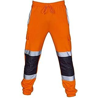Patalones de Trabajo Hombre SUNNSEAN Sólido Reflexivo de Alta Visibilidad Traje Casual Multi Bolsillo Deportes Entrenamiento Pantalón Profesional Vestimenta Pantalones