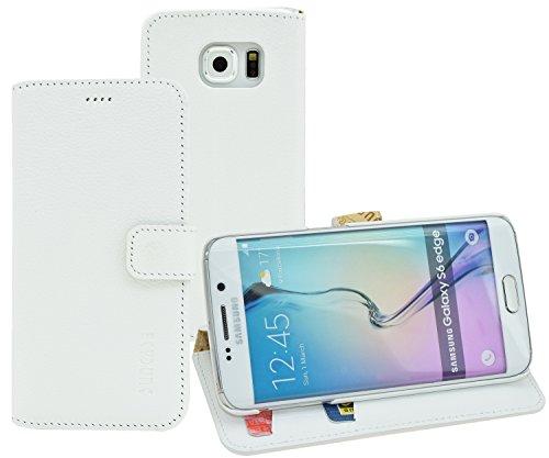 Samsung Galaxy S6 Edge + Plus (SM-G928F) - Suncase Book-Style (Slim-Fit) Ledertasche Leder Tasche Handytasche Schutzhülle Case Hülle (mit Standfunktion und Kartenfach) vollnarbig-weiss