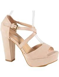 eb573656124476 Damen Riemchen Abend Sandaletten High Heels Pumps Slingbacks Velours Peep  Toes Party Schuhe Bequem B67