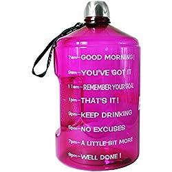 Motivierende Wasserflasche für das Fitnesstraining, mit Zeitmarkierungen, Messungen, Zielstellung; um gut hydratisiert zu sein, ideal für Fitnessstudio, Diät, Bodybuilding, Outdoor Sport, Wandern, Büro; 3,7 Liter, violett