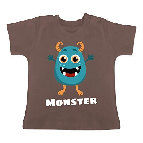 Partner-Look Familie Baby - Monster Partner-Look Kind - 1-3 Monate - Braun - BZ02 - Baby T-Shirt Kurzarm