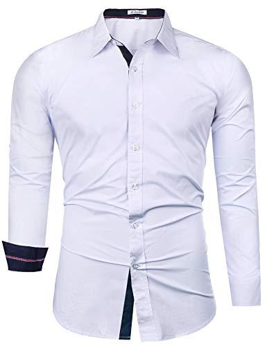 iClosam Herren Hemd Langarm Slim Fit Hemden für Anzug Freizeit Business Hochzeit Freizeithemd, Weiß#1, L