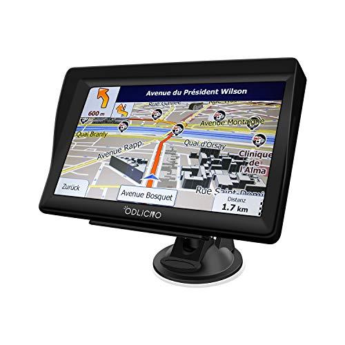 ODLICNO Auto Navigation GPS Navi Navigationsgerät 7 Zoll Touchscreen mit Lebenslangen Kostenlosen Kartenupdates 52 EU-Landkarten 2019 für Auto LKW PKW KFZ Taxi Wohnmobil (Mehrsprachig) (Schwarz)