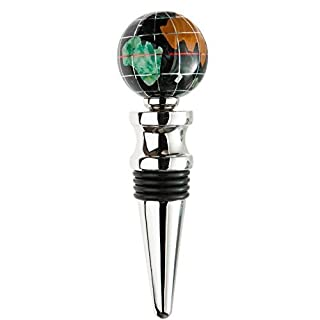 KALIFANO Gemstone Globe with Black Opalite Ocean on a Bright Silver Wine Bottle Stopper by Alexander Kalifano