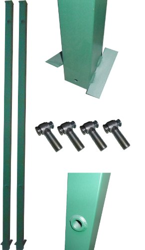 1 Paar Tor-Pfosten Grün 60x60 mm / Genügend Überlänge zum Ein-Betonieren