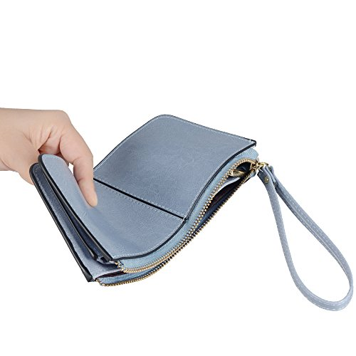Befen pelle morbida Smartphone Zipper Wallet Organizer con il supporto della carta di credito / tasca contanti / Wristlet- [Fino a 6 x 3.1 * 0.3 pollici del cellulare] Black azzurro