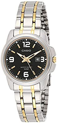 Casio Enticer Women's Black Dial Two Tone Stainless Steel Analog Watch - LTP-1314SG-1