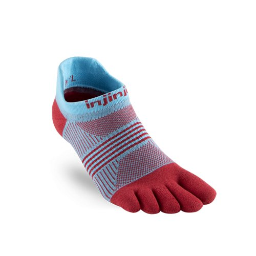 Injinji Socks Run Lightweight No Show Running Toe Socks Guava Womens