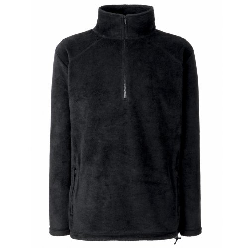 Fruit of the Loom Herren Half Zip Fleece Sweatshirt, Schwarz (Black 00), Large Fleece Half Zip Sweatshirt