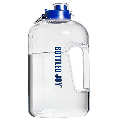 Bottled Joy 1 Gallone Wasserflasche und BPA kostenlos 2,2 Liter Große Wasserflasche für Camping Gym Sport Allenamenti Büro und Outdoor-Aktivität zu Hydration (Chiaro 143oz, 3700ml)