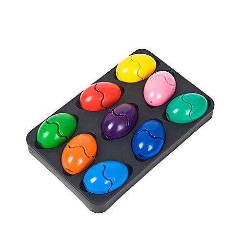Crayones para niños de 9 colores, ceras de pintura para bebés, no tóxico, con forma de huevo, ceras lavables, juguetes para colorear para niños, niños, niños, niños, niñas, adultos