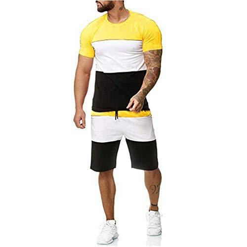 MakefortuneHerren Schlafanzug Set Sportsets Kurzarm T-Shirt Top & Shorts Hosen Sperry Shorts