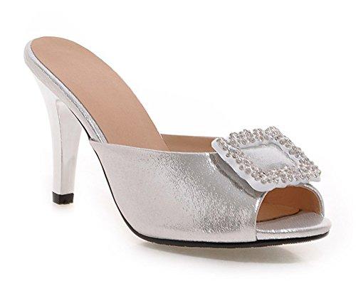 Aisun Damen Peep Toe Strass High Heels Glattleder Schuhe Mules Silber 37 EU Up9O1VVB8