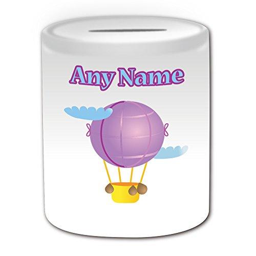 Personalisiertes Geschenk-Hot Air Ballon Spardose (Design Thema, weiß)-Für jede Nachricht/Name auf Treiber für Ihre Einzigartig-Blue Sky Flugzeug Cloud Tour Thermo-Luftschiff Flight -