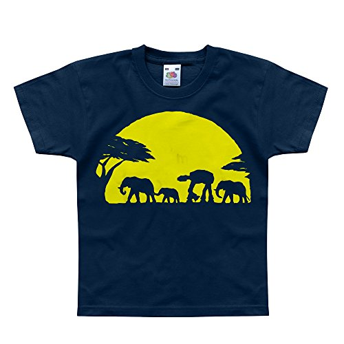 Nutees Unforgettable Walk Under African Sunset Elephant Funny Unisex Kids T Shirts - Navy 9/11 Years