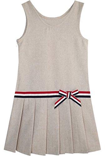 KX12 Sunny Fashion Vestido para niña Caqui Colegio Uniforme Plisado Falda 5 años