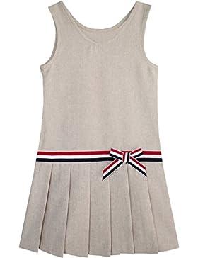 Sunny Fashion Vestido para niña Caqui Colegio Uniforme Plisado Falda 4-12 años