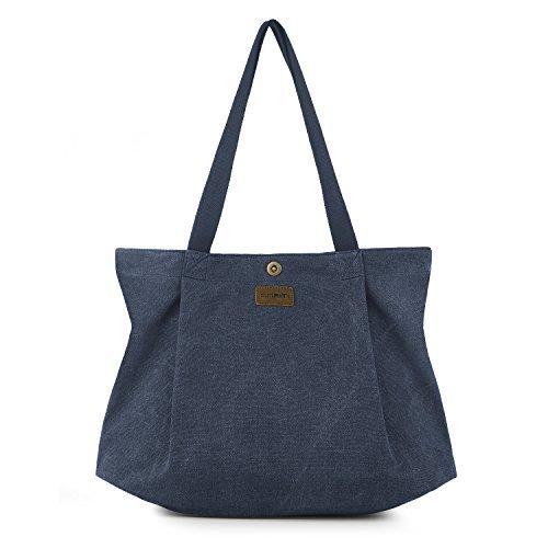 (sriti Canvas Tote Bag für Schule Arbeit Reise und Shopping – Blau)