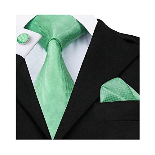 Juego de corbata, gemelos y pañuelo formal de Barry Wang Verde verde manzana Talla única