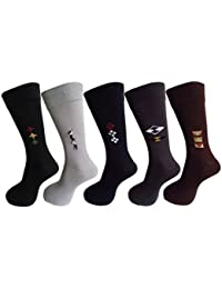 RC. ROYAL CLASS Men's Calf Length Formal Cotton Socks (Pack of 5 Pairs)