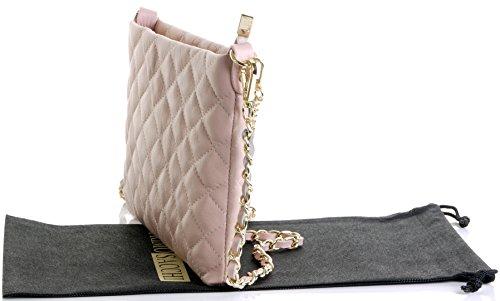 Borsa di cuoio italiano Design classico diamante forma borsa tracolla imbottita, con catena in metallo e cuoio, maniglie / tracolla include una custodia protettiva marca Piatto rosa chiaro