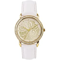 Monsoon Women's Quartz Watch with Gold Dial Analogue Display and Beige Leather Strap MO2000