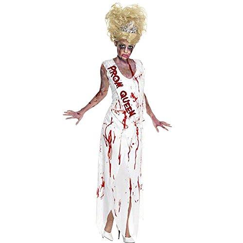 om Queen Abschlussball Leiche Halloweenkostüm Kostüm für Halloween Damenkostüm Ballkönigin Horror Kostüm für Damen weißes Ballkleid weiß Kleid Blut blutiges Klei (Zombie Prom Queen)
