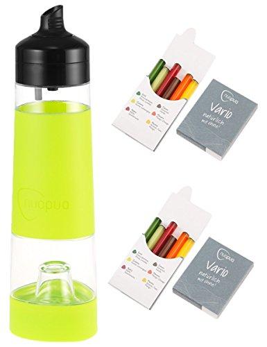 nuapua Trinkflasche 500 ml mit 12 Aromakapseln - bpa freies Trinksystem, Farbe: Lime