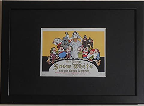 gerahmt und montiert zum Sammeln Postkarte Miniatur Film Replica–Schneewittchen und die sieben Zwerge–A4–290mm x 210mm–Walt Disney