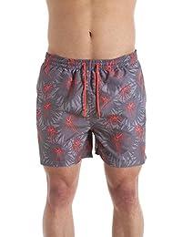 Short de bain - homme - gris/corail