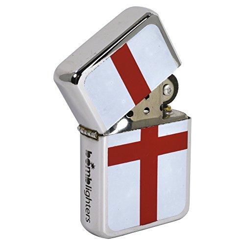 Bomblighter ST George Feuerzeug. Englisch Flagge Poliert Chrom Winddicht Feuerzeug