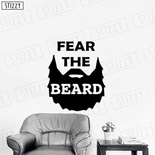 yaoxingfu Wandtattoo Kreative Barbershop Brot Wandaufkleber Zitate Angst vor dem Bart Abnehmbarer Mann Friseursalon Logo Design Dekor weiß 85x102cm