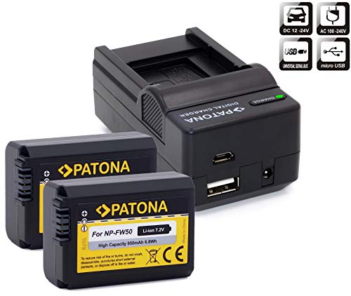 PATONA Set - 2X Ersatz für Akku Sony NP-FW50 - Ladegerät 4in1 - zu ILCE Alpha 6000 6100 6300 6400 6500 / A55 A33 A35 A37 / 7 7II 7R 7RII 7S / DSC RX10 / NEX usw
