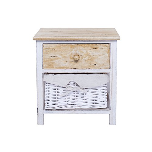 Rebecca Mobili Table de Chevet Commode 2 Tiroirs Blanc Bois Naturel Country Rustique Chambre Bain - 42 x 40 x29 cm (H x L x P) - Art. RE4196