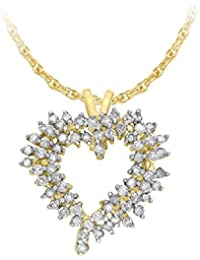 Carissima Gold Collana con Pendente da Donna in Oro Giallo 9K (375) con Diamante 0.22ct, 46 cm
