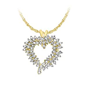 Carissima Gold Women's 9 ct Yellow Gold Diamond and Heart Cluster Pendant on 0.7 mm Prince of Wales Chain Necklace of Length 46 cm/18 Inch