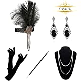 1920 Accessories Set - KQueenStar 1920s Flapper Costume Fancy Dress Gastby Accessories Vintage Feather Headband,Long Gloves,Pearl Necklace,Black Cigarette Holder Earring For Women(Black4)