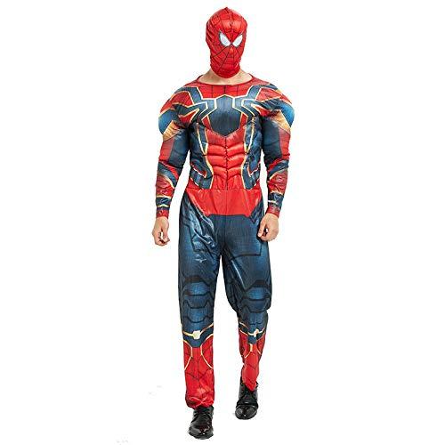 Avengers Kostüm Erwachsene Superhelden Kostüme Herren,Hulk,Captain America,Iron Man,Spiderman Kostüm,Halloween Cosplay Overall Kostüm,IronSpiderman-OneSize