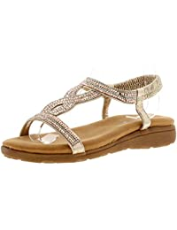 ee1b788db Dunlop Cynthis Womens Ladies Flat Sandals Rose Gold - Rose Gold - UK Sizes  3-