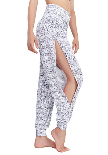 Matymats Yoga Harem Hosen für Frauen Sport Dancing Workout Sweat Pants Seitenschlitz, Damen, Crackle, X-Large - Elastische Taille Petite-leggings
