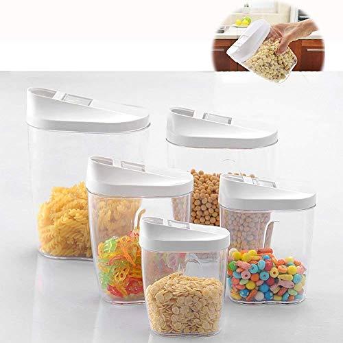 5pz diverse dimensioni blocco acrilico trasparente plastica conservazione degli alimenti barattoli contenitore set ideale per zucchero, tè, caffè, riso, pasta, ecc. con coperchi ermetici