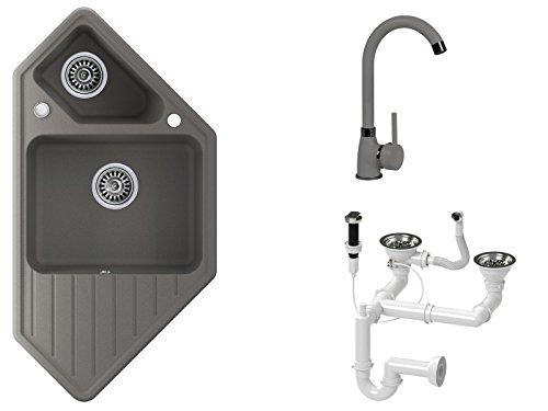 Granitspüle grau, Armatur 5000 - Hochdruck, 1.5-Becken, Drehexcenter + Siphon, Spülbecken, Küchenspüle, Schrankbreite ab 80 cm