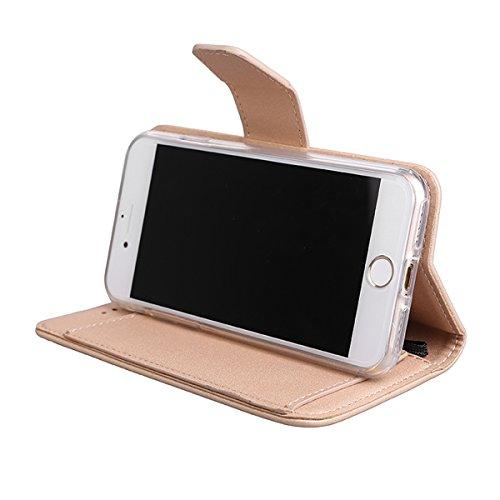 iPhone 6/6s (4.7) Custodia Cover, EUWLY Portafoglio Custodia Premium PU Leahter Protettiva Cover Case Per iPhone 6/6s (4.7), Goffratura Fiore Farfalla Modello PU Pelle Custodia Caso Libro Flip Walle Oro