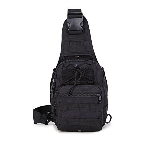 (Lanlan Tactical Rucksack Freizeit Outdoor Schultertasche Camouflage Oxford Military leichter Wandern Reisen Wasserdicht Crossbody Taschen Brust Tasche für Herren, schwarz)